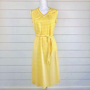 Vintage 60s Sleeveless Striped V-Neck Dress